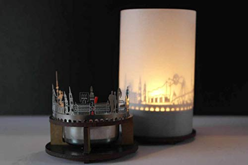 13gramm Hamburg-Skyline Windlicht Schattenspiel Premium Geschenk-Box Souvenir, inkl. Kerzenhalter, Kerze, Projektionsschirm und Teelicht