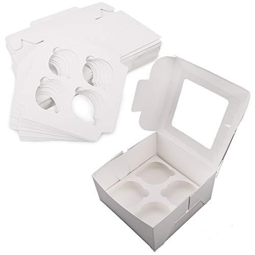 25 Sets Cupcake Box Cupcake Koffer Kasten für Cupcakes Muffin Törtchen Torten Aufbewahrungsbox Geschenkbox Verpackung inkl.Trenneinsatz 9 cm Tiefe