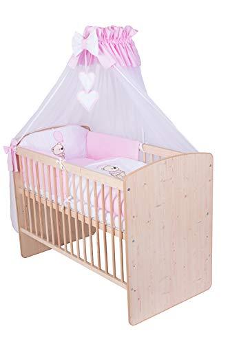 KMbaby Babybett K2 Naturholz Farbe 120x60 mit 10tlg Bettwäsche Set Matratze Gitterbett Teddybär mit Ballon rosa