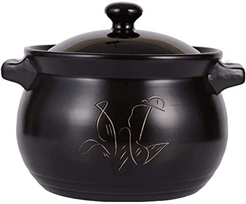 CLQ Prácticos Platos de cazuela Olla de arroz de Arcilla Cazuela de Sopa Resistente al Calor de cerámica Estufa de Gas de Gran Capacidad Cocina-Black||12L