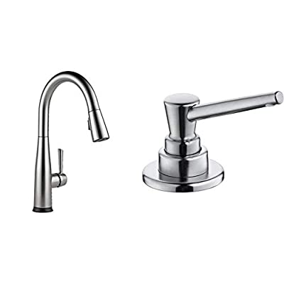 Delta Faucet Essa Single-Handle Touch Kitchen Sink Faucet with Pull Down Sprayer, Touch2O Technology and Magnetic Docking Spray Head & Soap/Lotion Dispenser with 13oz Bottle with Funnel