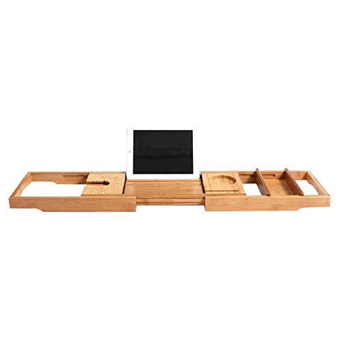 MU Haushaltsregale Regale Badewanne Caddy - Ausziehbare Bambus Holz Bad Tablett verstellbares Buch, Ipad Kindle Leseständer - Weinglashalter - Handy Tablet Slot Racks,Badewanne Tablett + Badezi