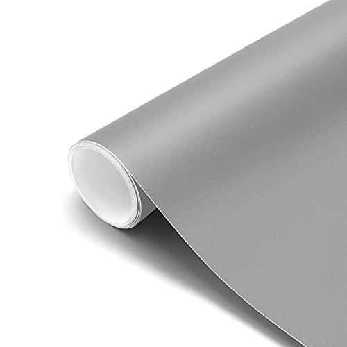 Papel Pintado Adhesivo Gris Vinilos para Muebles Antifouling y Resistete a Humedad y Mancha de Grasa, Papel Adhesivo para...
