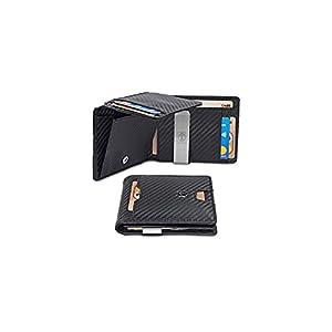𝗙𝗨𝗡𝗞𝗧𝗜𝗢𝗡𝗔𝗟𝗘 𝗚𝗘𝗟𝗗𝗕Ö𝗥𝗦𝗘 - Besitzt trotz der Größe von 11,3 x 8,8 x 1,9 cm 10 Kartenfächer. Das Schiebefach außen ermöglicht einen schnellen Zugang zu häufig genutzten Karten 𝗘𝗗𝗘𝗟𝗦𝗧𝗔𝗛𝗟 𝗚𝗘𝗟𝗗𝗦𝗖𝗛𝗘𝗜𝗡𝗞𝗟𝗔𝗠𝗠𝗘𝗥 - Mit der fest eingebauten Geldspange aus rostfrei...