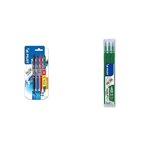 Pilot Frixion Clicker - Paquete de 4 bolígrafos de tinta gel con trazo medio, multicolor + RFV - Set de 3 recambios, verde