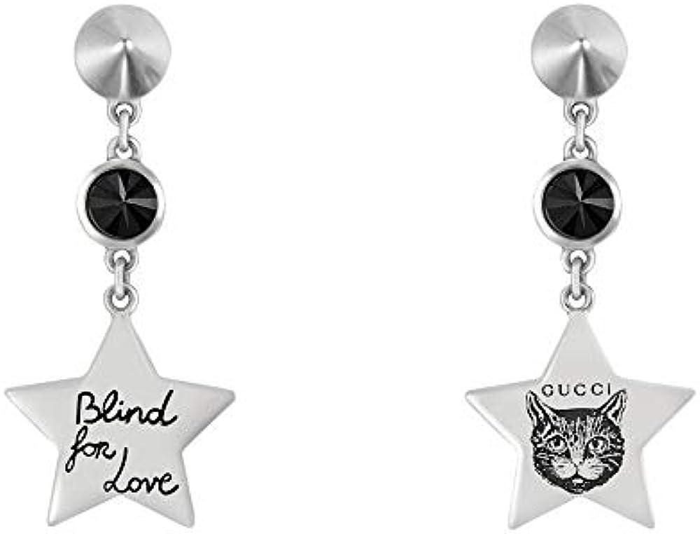 Gucci orecchini donna con stella pendente e pietra nera YBD50216500100U