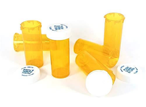 Amber Vials 6,8,13,16,20,30,40 & 60 Dram Sizes - Child Resistant Prescription Bottles (13 Dram/ 75 Units)