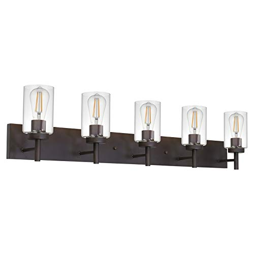 VINLUZ 5 Lights Bathroom Vanity Light Fixture Oil Rubbed Bronze Sconces Wall Lighting Modern Industrial Indoor Wall Mounted Lamp, Farmhouse Style Wall Light for Kitchen Hallway Dining Room