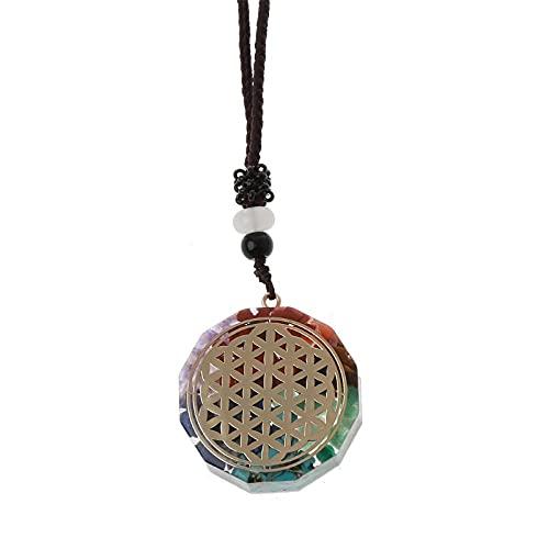 Colgante Collar Metatron Cube Orgonite Energy Colgante 7 ChakrasEMF Protection Crystal Necklace-2277