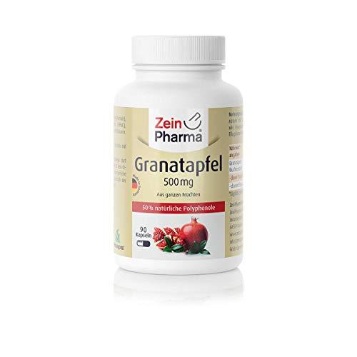 Cápsulas de extracto de Granada 500mg de ZeinPharma • 90 cápsulas (un mes de suministro) • sin gluten, vegano, kosher y halal • Hecho en Alemania