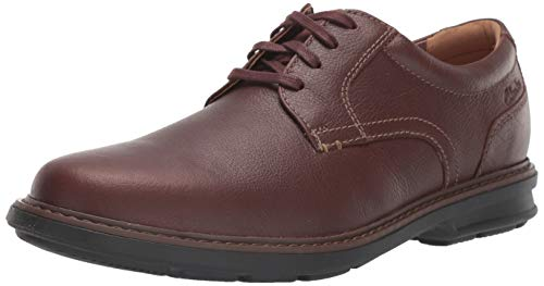 Clarks Men's Rendell Plain Oxford, Mahogany Leather, 9.5 Wide