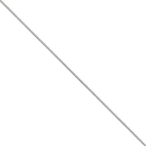 Pulsera Franco de oro blanco de 14 quilates, 1,5 mm, 18 cm