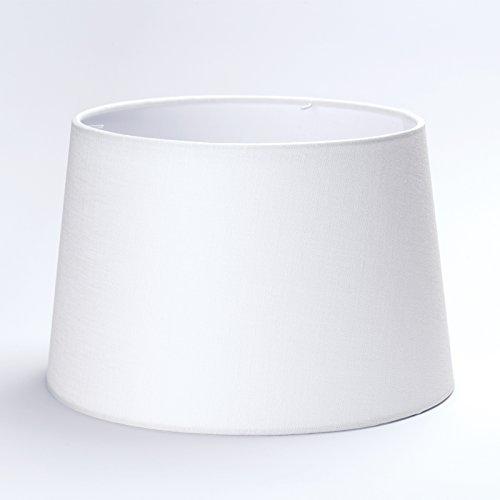 Stoff Lampenschirm E27 Weiß 40cm Textilschirm Tischlampe Stehlampe Stoffschirm Schirm