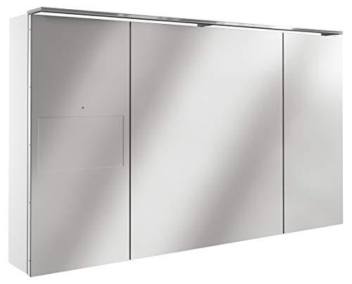 Lanzet SmarT Multimedia Spiegelschrank/Badschrank mit Internetanbindung + Touchscreen/Maße (B x H x T): ca. 120 x 68 x 18 cm/LED Spiegelschrank mit 3 Türen/Screen Links/Korpus: Weiß Glanz