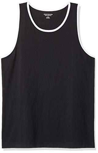 Amazon Essentials - Camiseta sin mangas de ajuste regular para hombre, Negro/Blanco, US L (EU L)