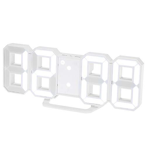 HERCHR Orologio da Parete Digitale 3D Sveglia Orologio Parete Orologio da Parete Moderno LED Wall Clock Orologio da Muro Snooze Desktop Sveglia Decorazione Domestica
