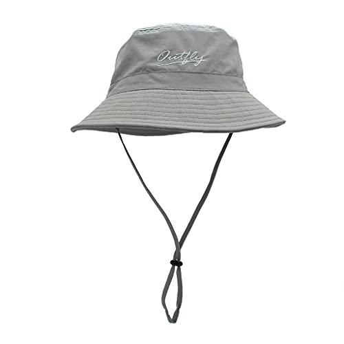 Sombrero De Pescador De Color Liso Gorra De Verano para El Sol Sol Brillante Copa Playa Femenino Protector Solar Al Aire Libre (Color : Gray)