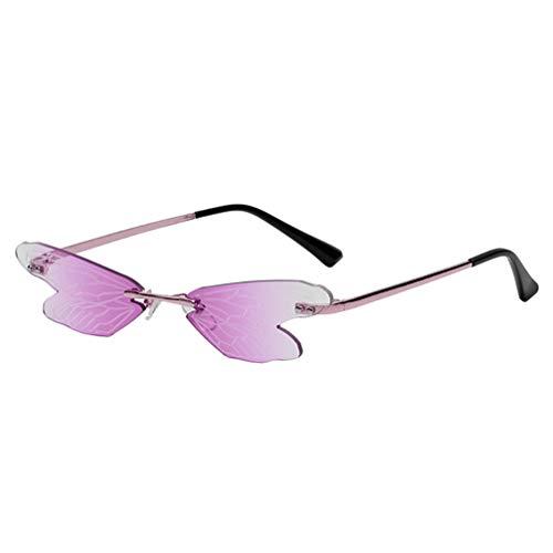 PRETYZOOM Gafas de Sol sin Montura Gafas de Sol con Protección UV con Forma de Libélula Gafas de Sol Novedosas Gafas de Sol para Mujer Playa Al Aire Libre