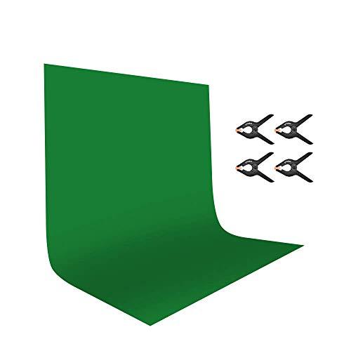 UTEBIT Fotohintergrund Backdrop 1.8x2.8M Grüner Stoff Greenscreen 100{1300d308e4d26e268180735a9f0300af5327f6ab98873e487c56c52c0242327b} Polyester Leinwand Fotostudio Grün Hintergrundstoff mit 4 Clips für Hintergrundstand, Fotografie, Video und Fernsehen Fotostudio