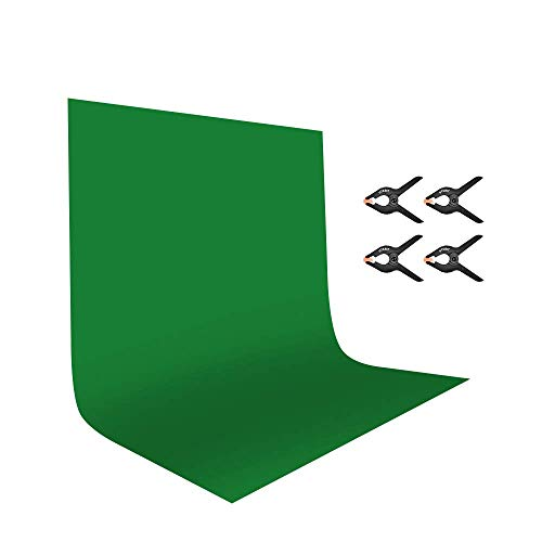 UTEBIT - Fondo Verde con 4 Abrazaderas para fotografía, 1,8 x 2,8 m, poliéster, Plegable, para Estudio de vídeo, Fondo Blanco, para fotografía y vídeo, Marco de Fotos, decoración de Fiestas