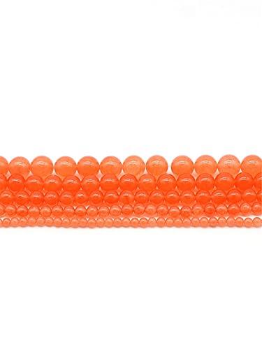 Piedras preciosas naturales naranja rojo calcedonia jades perlas redondas sueltas para hacer joyas 4-12 mm DIY pulsera 35 pulgadas naranja 6mm aprox 63beads