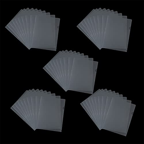 Jakie-Mar 50pcs L-Type Plastic Document Folder Transparent Copy Safe Project Pocket US Letter  A4 Size L-Type Folders for School Office