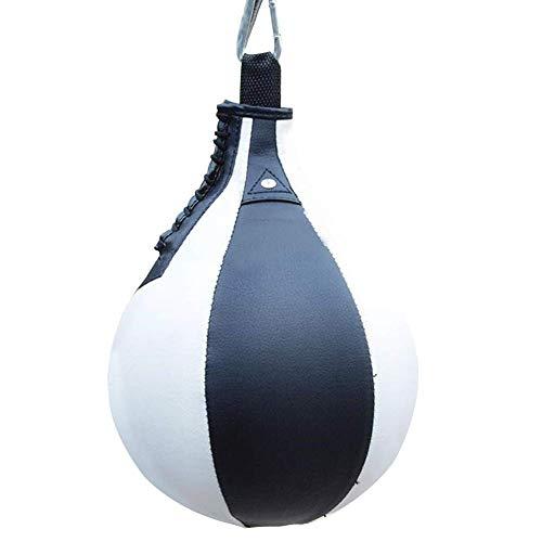 CLIUS PU Cuir Boxe Balle, Vitesse Balle Gym MMA Boxe Sports Poire Punch Sac, Ruine Balle Lourd Sac, Suspendu Pivot Entraînement Speedball - Noir + Blanc, Free Size