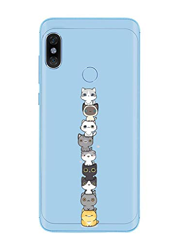 Caler Funda compatible con Xiaomi Mi A2 Lite, carcasa de TPU de silicona transparente, suave y fina, funda protectora para teléfono móvil de goma fina y flexible