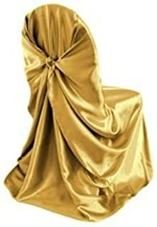 Elina Home Satin Universal Self Folding Chair Cover & Tie Back Wedding Banquet Birthday Party Decor (Gold, 25)
