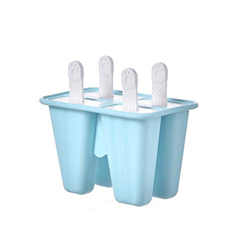 Iusun Popsicle Molds Sets 4 Hole, Cute Mini Silicone Ice Cream Tray Mold Holder, Reusable Easy Ice Cream Maker for Kids Baby Infant, Homemade Frozen Icecream Mould for Popcicles Freezers (Blue)