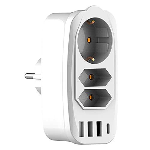 Ciabatta Multipresa Elettrica con USB, Presa USB Multipla Salvaspaziocon con 3 Presa e 4 Porte di Ricarica Condivisa ,USB da 3.1 A, Bianco