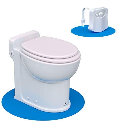 Silent Venus White Upflush Toilet (1-Piece Kit) - Macerating Toilet System with Round-Front Standard Bowl - Powerful Upflush Toilet For Basement