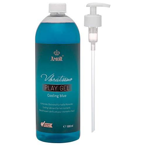 """AMOR Vibratissimo® \""""PlayGel CoolingBlue\"""" 1000ml kühlendes Gleitgel, Gleitmittel, öl- und fettfreies medizinisches Gleitgel mit Langzeitwirkung auf Wasserbasis ohne Parabene, mit Pumpspender"""