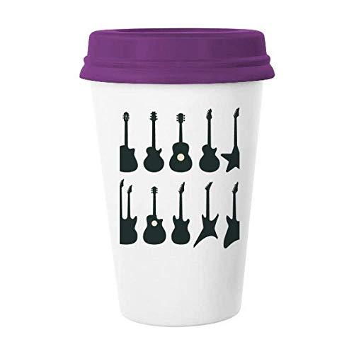 Taza de café con tapa de cerámica para guitarra eléctrica