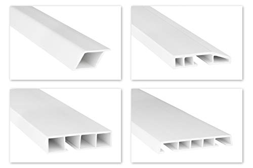 HEXIM Fenster/PVC Deckleisten Sonderformen - speziellen Hohlkammerprofile mit abgeschrägten Kanten und zum Klipsen, wahlweise mit Schaumkleband - 2 Meter je Leiste (45x10mm, HJ 223)