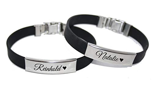 aplusashop ID Kautschuk Armband mit Edelstahlplatte inkl. Gravur nach Wunsch Partnerarmband Silikon (Paar (2 Stück))