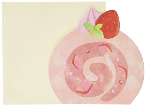 [メッセージカード 封筒セット ×3セット]いちごロールケーキ