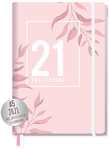 Chäff-Timer Premium Kalender 2021 A5 [Pink Leaves] Terminplaner, Terminkalender, Wochenplaner, Wochenkalender, Organizer mit Gummiband und Einstecktasche | nachhaltig & klimaneutral