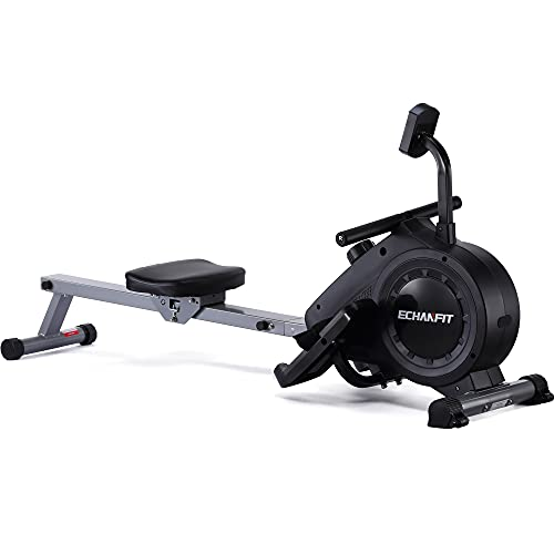 ECHANFIT Rowing Machine Indoor Rower w/LCD Monitor with 16 Levels Silent Magnetic Belt System for Cardio Exercise Training at Home and Office