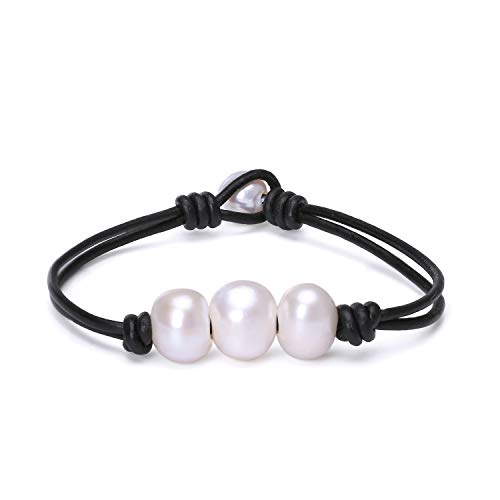 Fashion Braided Leather Knotted Bracelet Handmade Pearls Jewelry for Lady Black 7.5