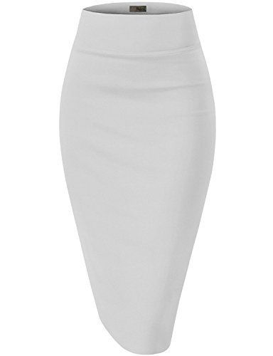 Womens Premium Stretch Office Pencil Skirt KSK45002 White Medium
