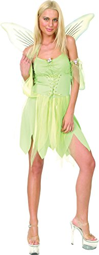 Women Fancy Party Tinkerbell Costume Neverland Pixie Green Fairy Complete Outfit