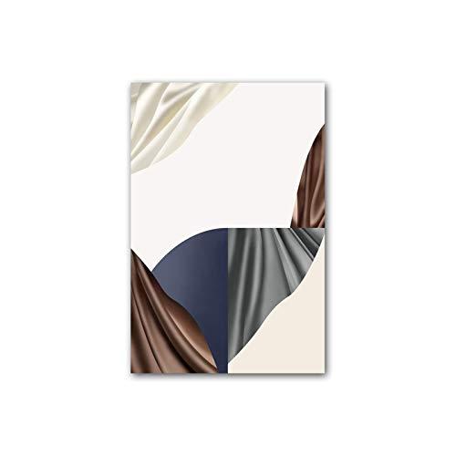 N / A Póster geométrico abstracto blanco rojo marrón para pared, impresión sobre lienzo, decoración nórdica, decoración del hogar, sala de estar, 50 x 70 cm, sin marco