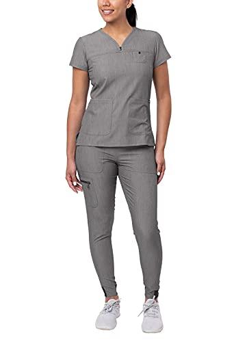Adar Pro Heather Movement Booster Scrub Set for Women - Sweetheart V-Neck Scrub Top & Yoga Jogger Scrub Pants - P9400H - Heather Grey - S