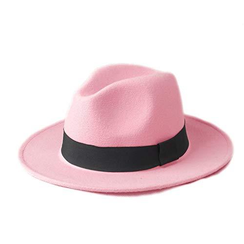 CHENGWJ Fedoras Cap Hommes Chapeau Fedora en Laine pour Femmes pour Laday Large Brim Noir Ruban Cap Jazz Church Cap Panama Haut Forme