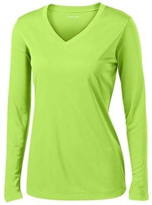 Joe's USA - Ladies Long Sleeve Moisture Wicking Athletic Shirts, Lime Shock Small