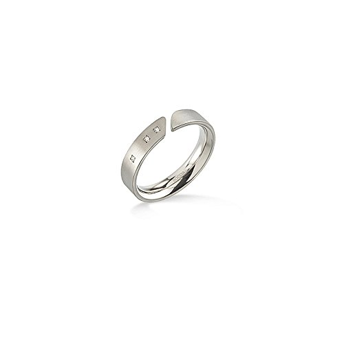 Boccia Damen-Ring Titan mattiert Diamant (0.015 ct) weiß Brillantschliff Gr. 56 (17.8) - 0140-0256