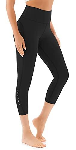 JOYSPELS Yoga Pants for Women High Waisted Capri Leggings with Pockets Workout Leggings Tummy Control Athletic Spandex Cropped Gym Leggings, Black L