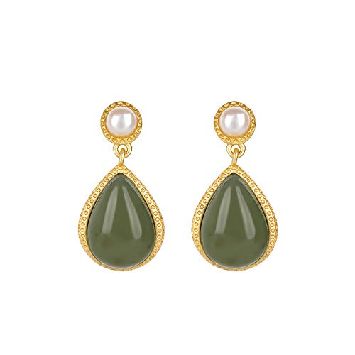 S925 / 925 Sterling Silver Gold-Plated Gemstone Crystal Earrings, High-End Elegant Ladies Jade Earrings, Perfect Holiday Gifts For Ladies, Low Strain And Nickel-Free Pendant Earrings C8352