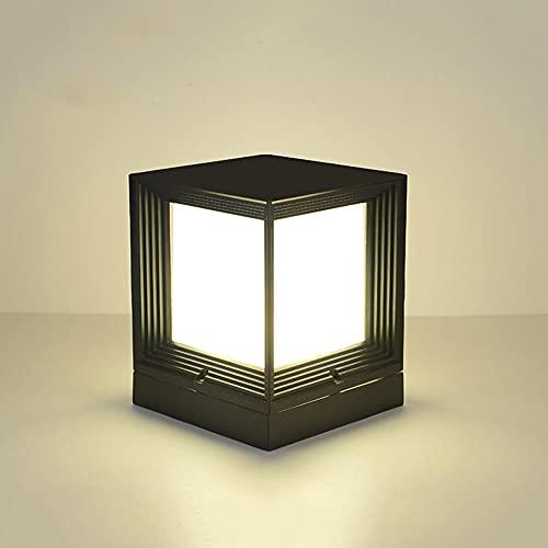 Cuadrado negro Accesorio de iluminación para poste de estanque al aire libre Pantalla acrílica Impermeable Iluminación de patio Linterna de pilar E27 Lámpara de columna de césped a prueba de lluvia IP